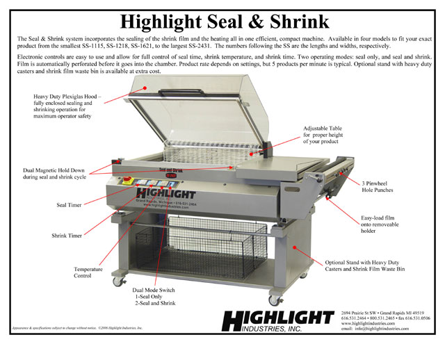 Highlight system with heat tunnel and sealing bar